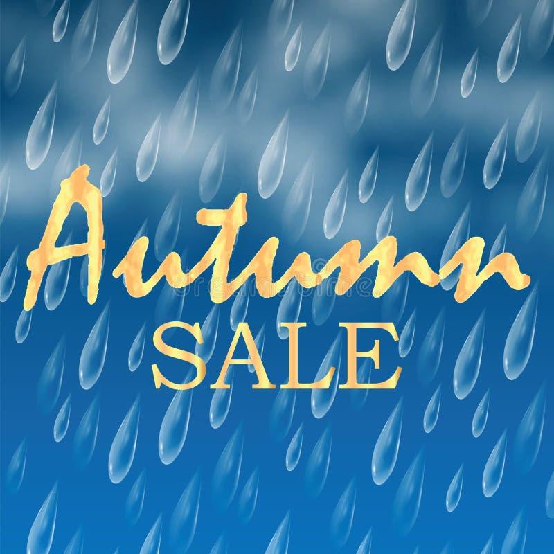 De herfstbanner met regendruppels en wolken royalty-vrije illustratie