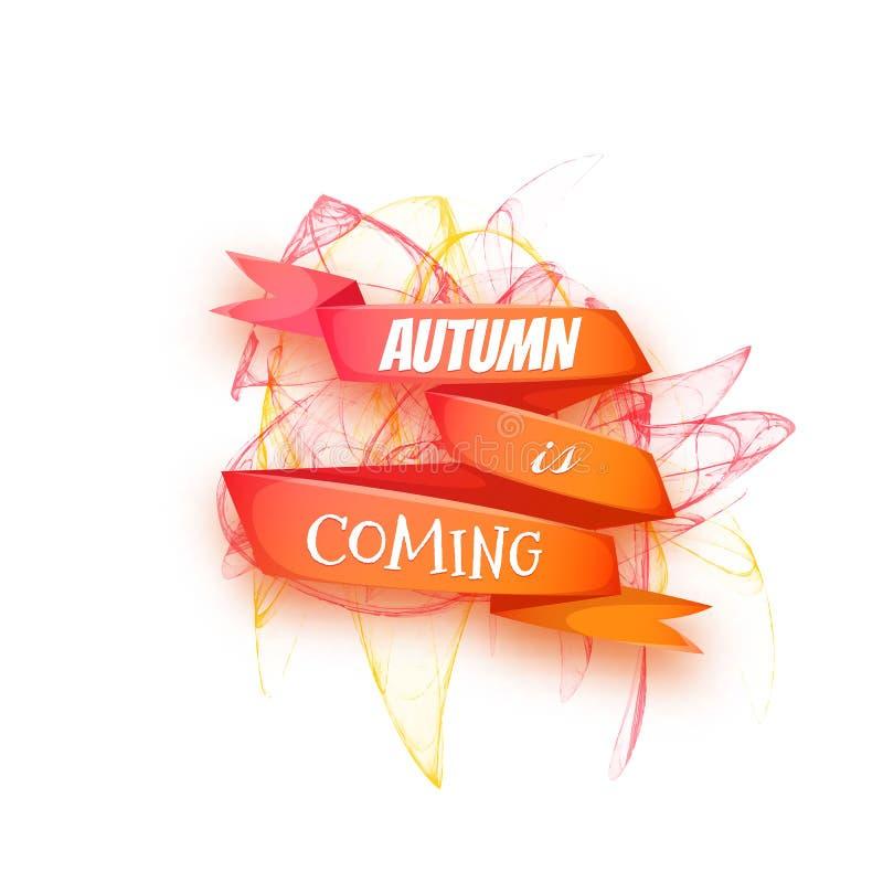 De herfstbanners met lint en abstract patroon Vector illustratie stock illustratie