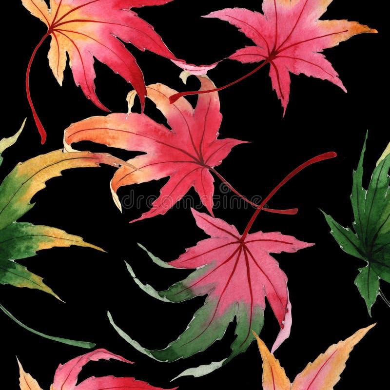 De herfstblad van esdoornpatroon in een hand-drawn waterverfstijl stock illustratie