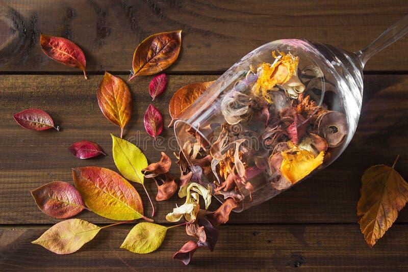 De herfstbladeren in een wijnglas op houten lijstachtergrond stock afbeeldingen