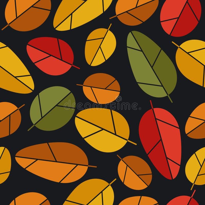 De herfstbladeren, kleurrijk naadloos patroon Decoratieve achtergrond royalty-vrije illustratie