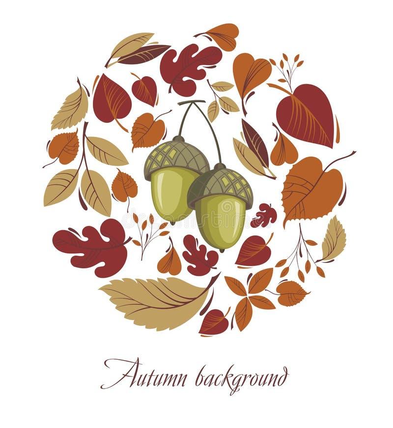 De herfstbladeren met eikel vector illustratie