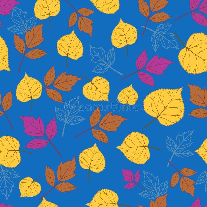De herfstbladeren op blauw-01 royalty-vrije illustratie