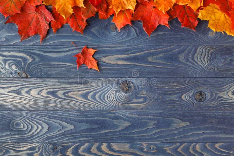 De herfstbladeren over houten achtergrond met exemplaarruimte royalty-vrije stock fotografie