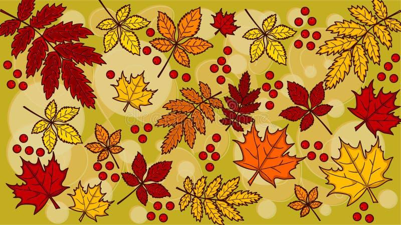 De herfstbladeren van verschillende kleuren OP de groene ACHTERGROND van A vector illustratie