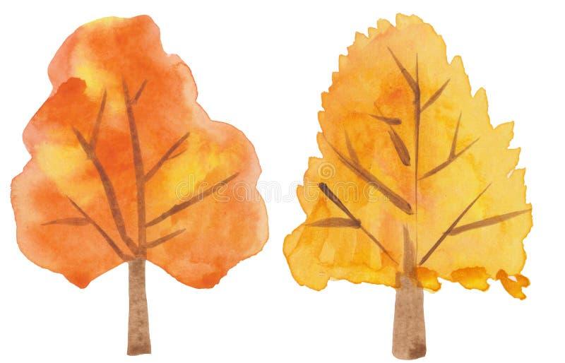 De herfstbomen van de handtekening op een witte achtergrond waterverf gestileerde illustratie voor behang, drukken, kaarten vector illustratie