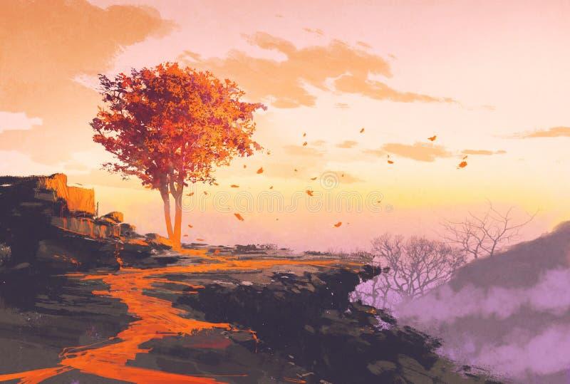 De herfstboom bovenop de berg stock illustratie