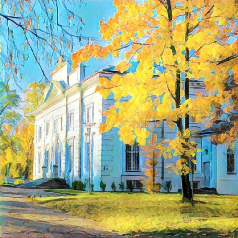 De herfstboom dichtbij wit huis vector illustratie
