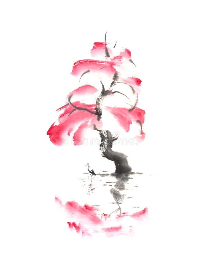 De herfstboom en ooievaar over originele de inkt sumi-e van de water het Japanse stijl schilderen stock afbeeldingen