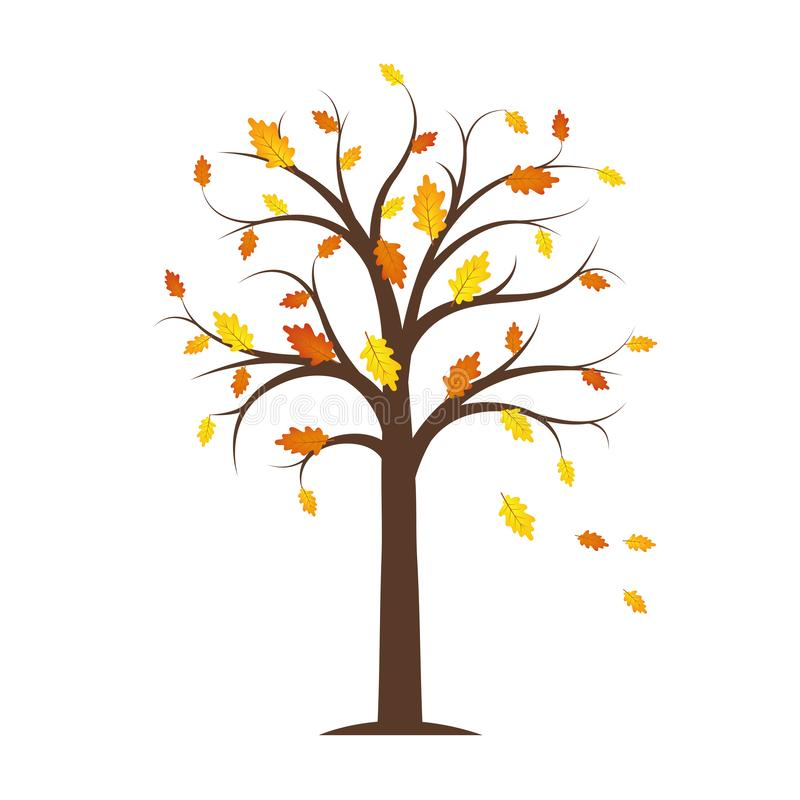 De herfstboom met gele en sinaasappel gevallen die bladeren op een witte achtergrond worden geïsoleerd vector illustratie