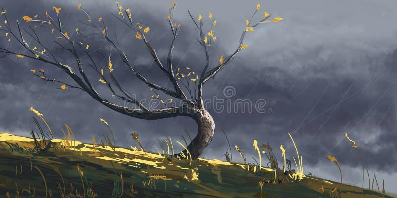 De herfstboom in onweer, het digitale fantasie schilderen vector illustratie