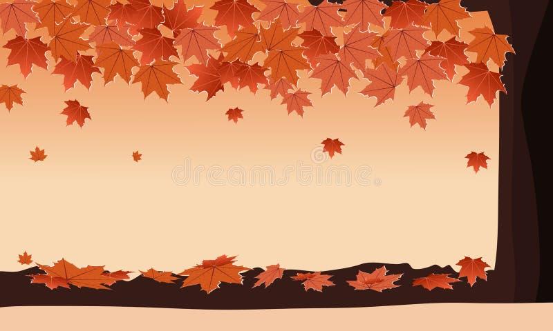 De herfstbos met de dalende oranje kleur van de esdoornboom Vectorillustratie van het exemplaar de Ruimteontwerp royalty-vrije illustratie