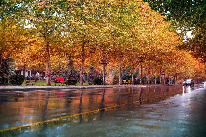 De herfstcityscape het kapitaal in van Tirana, Albanië royalty-vrije stock foto's