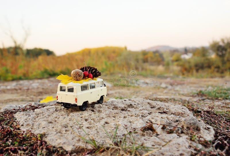 De herfstconcept - een stuk speelgoed auto op het dak van eikels, Lijsterbessenbessen, geel blad en een buil wordt gedreven die royalty-vrije stock afbeelding