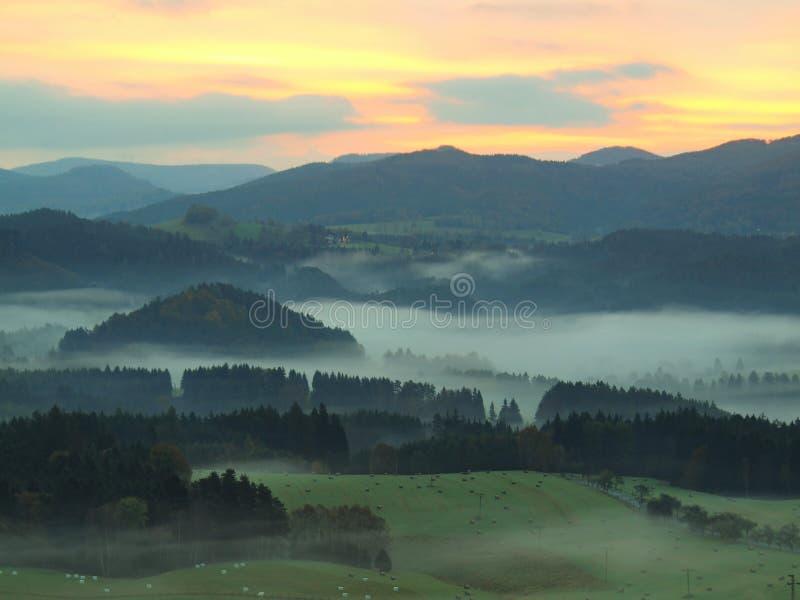 De herfstfogy platteland Mening in lang mistig valleihoogtepunt van het kleurrijke melancholische landschap van de mistherfst royalty-vrije stock fotografie