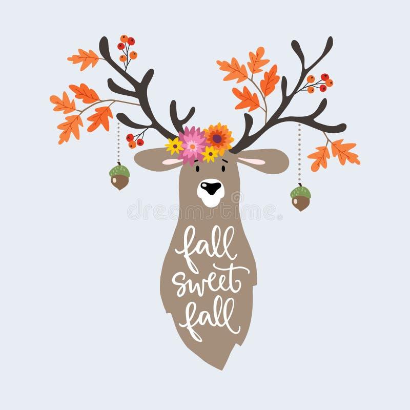 De herfstgroet, kaart, uitnodiging Hand getrokken die illustratie van herten door kleurrijke eiken bladeren, bloemen, eikels word royalty-vrije illustratie