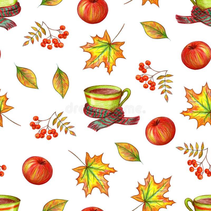 De herfsthand die op een witte achtergrond trekken royalty-vrije illustratie