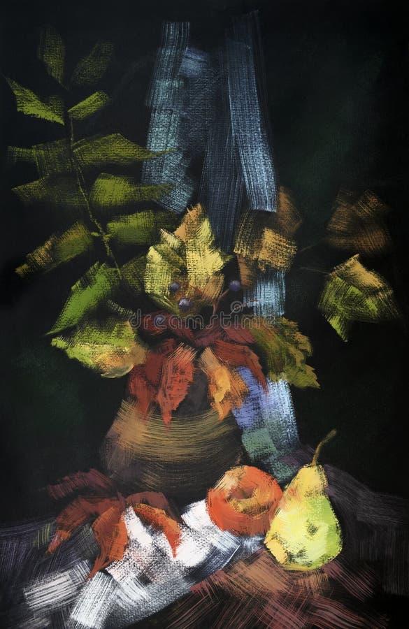 De herfsthand getrokken stilleven met een bos van oranje bladeren, appel en peer