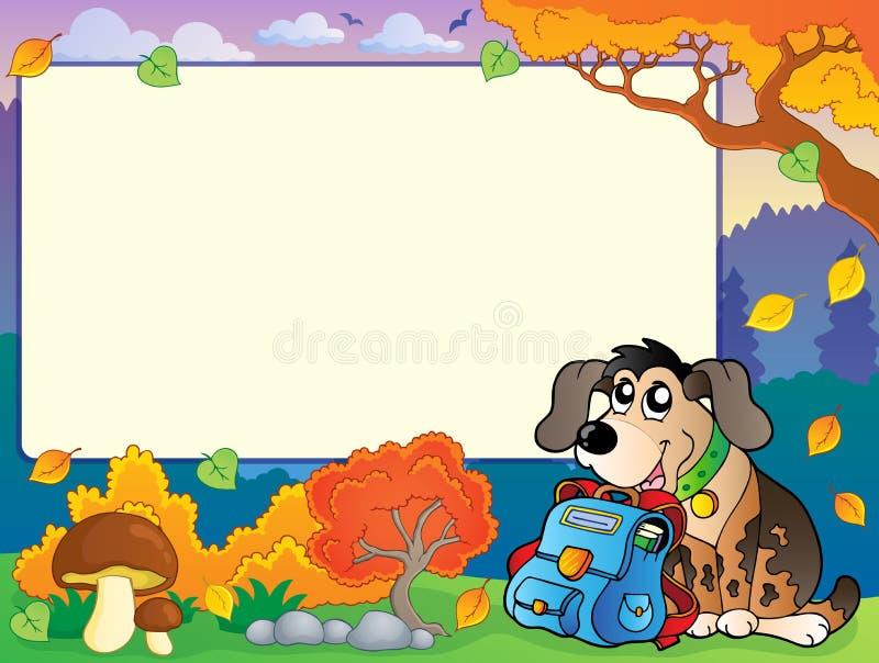 De herfstkader met hond en schooltas vector illustratie