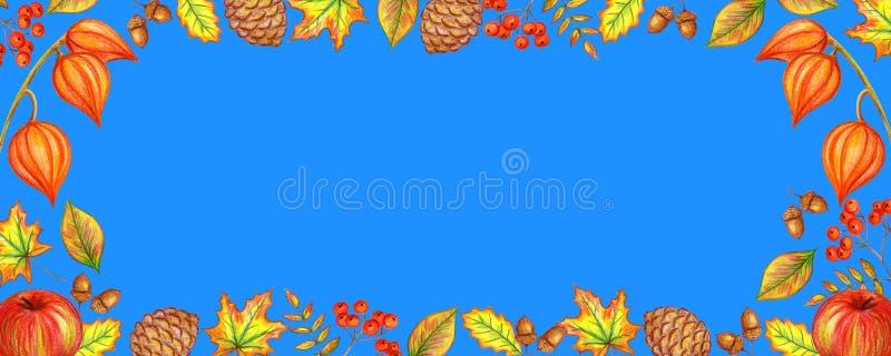 De herfstkader van bladeren van bessen royalty-vrije illustratie