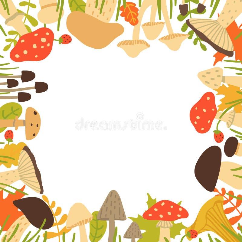 De herfstkader van bosdiepaddestoelen, bessen en bladeren op witte achtergrond worden geïsoleerd Vectorillustratie in beeldverhaa royalty-vrije illustratie