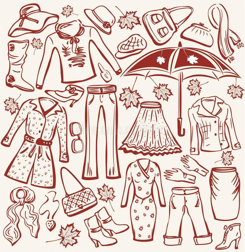 De herfstkleren en accesso van de vrouw royalty-vrije illustratie