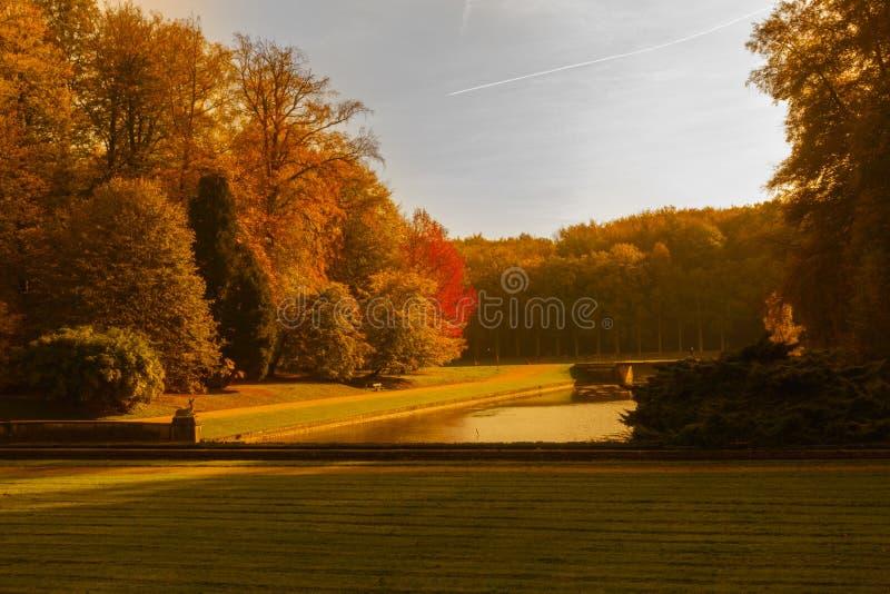 De herfstkleuren bij Tervuren-park royalty-vrije stock foto