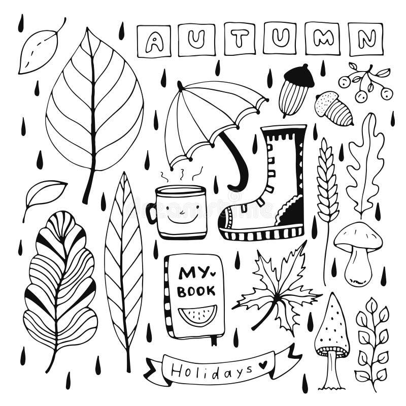De herfstkrabbel voor seizoengebonden decoratie wordt geplaatst die Geïsoleerde elementen voor het kleuren van boek of stickers royalty-vrije illustratie