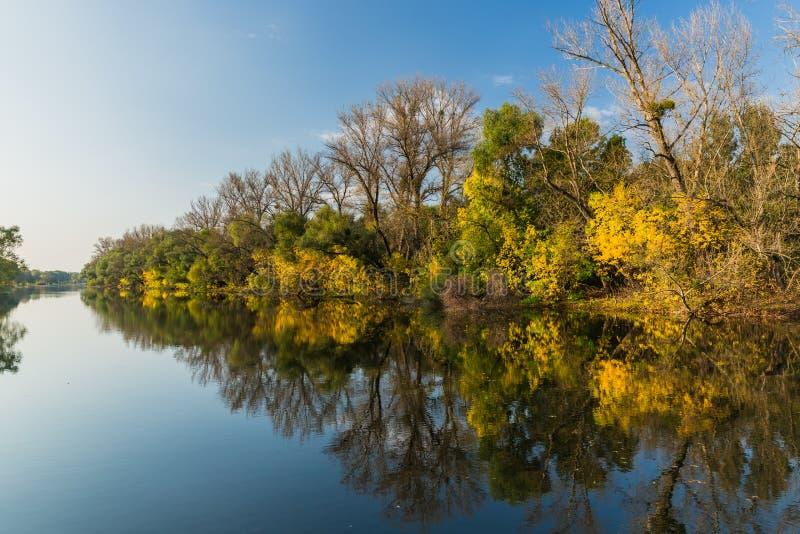 De herfstlandschap bij rivier stock afbeelding