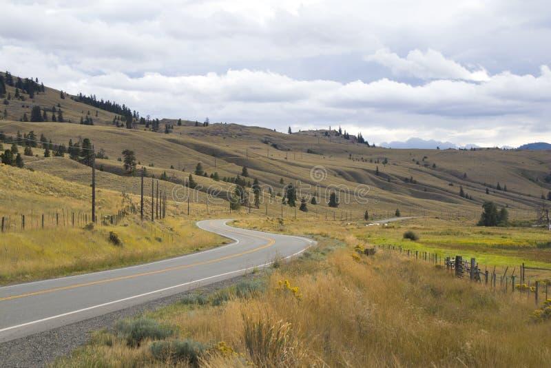 De herfstlandschap dichtbij Merrit, Canada Windende weg royalty-vrije stock afbeelding