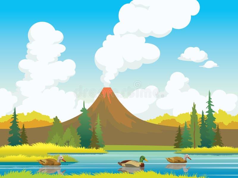 De herfstlandschap - eenden, vulkanen, bos, meer vector illustratie