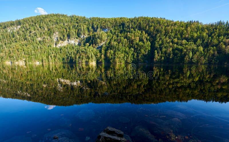 De herfstlandschap met bezinning over water, bos, berg en meer in Oostenrijk, Salzkammergut-gebied royalty-vrije stock afbeeldingen