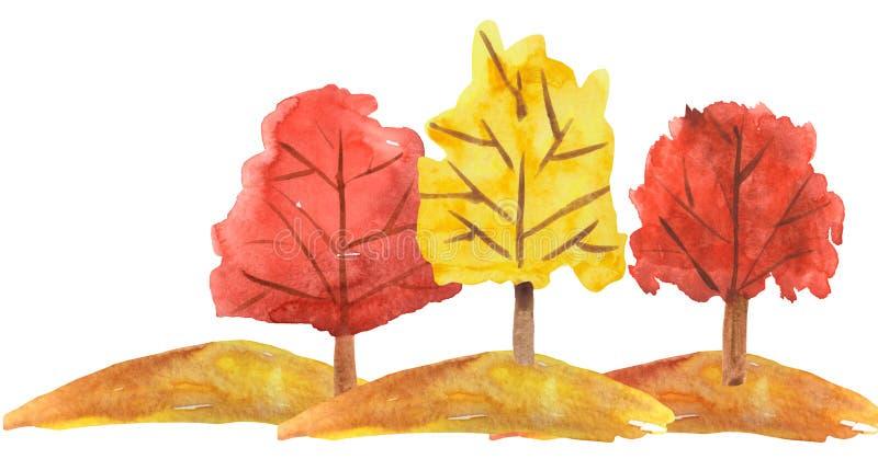 De herfstlandschap met bomen op een heuvel op een witte achtergrond waterverfillustratie voor kaarten, banners, behang stock illustratie