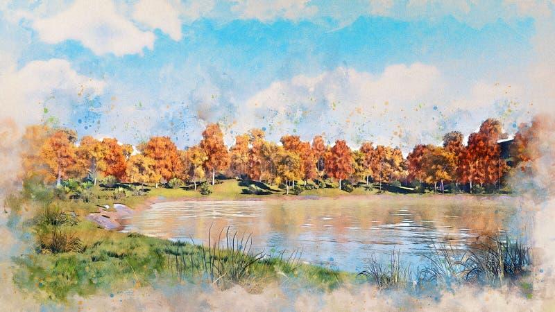 De herfstlandschap met de bosschets van de meerwaterverf vector illustratie