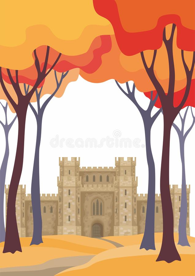 De herfstlandschap met kasteel stock illustratie