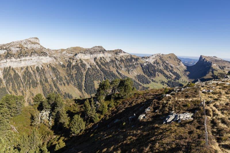 De herfstlandschap op Niederhorn op een mooie de herfstdag stock foto