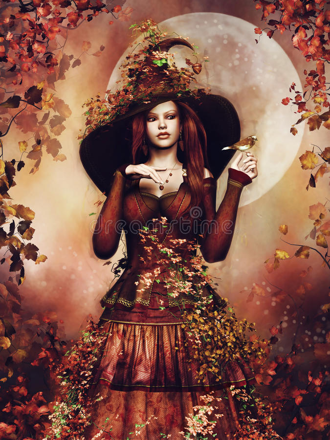 De herfstmeisje met klimop stock illustratie