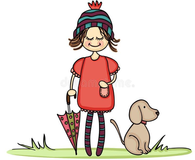 De herfstmeisje met weinig hond royalty-vrije illustratie