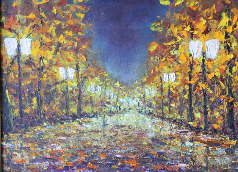 De herfstnacht in het park, lichten, banken stock illustratie