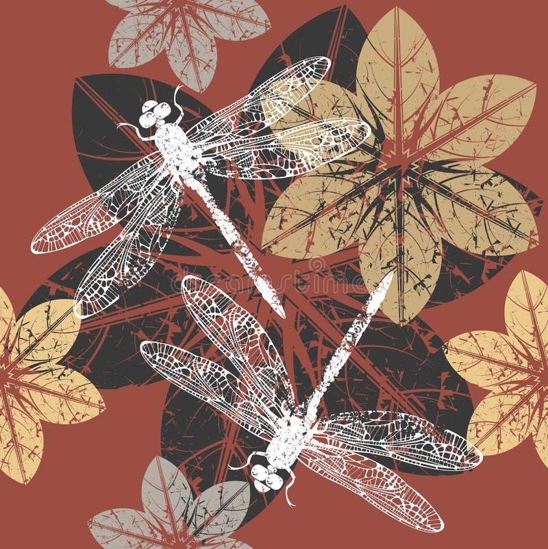 De herfstpatroon met bloemen en libel stock illustratie