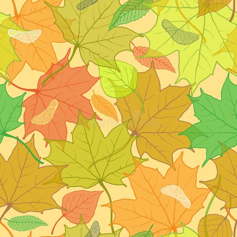De herfstpatroon met gevallen bladeren stock illustratie
