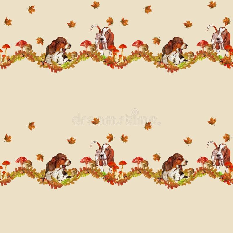 De herfstpatroon met honden en mooie bladeren stock illustratie