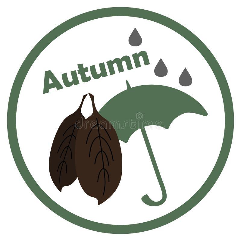 De herfstpictogram met bladeren en paraplu op witte achtergrond stock illustratie