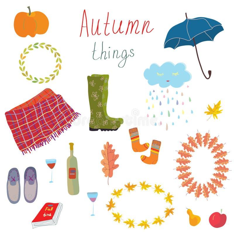 De herfstpictogrammen geplaatst grappig ontwerp stock illustratie