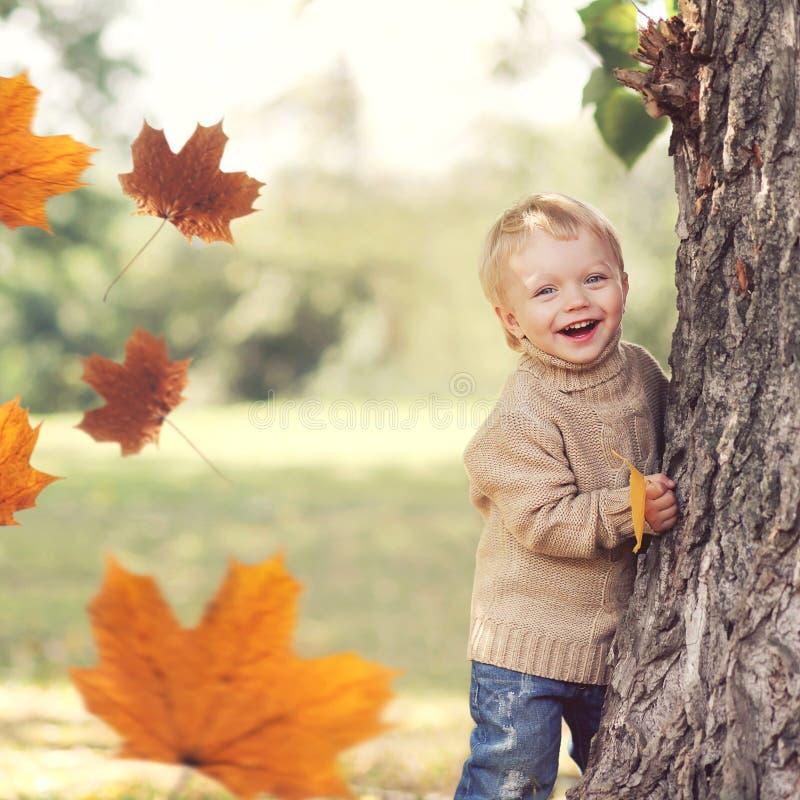 De herfstportret die van gelukkig kind hebbend pret met vliegende gele esdoorn gaat het spelen weg royalty-vrije stock foto