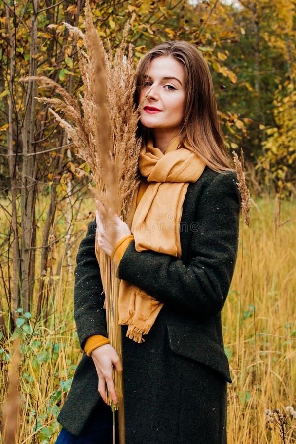 De herfstportret, jong mooi meisje met lang haar in aard met gele zakdoek op haar hals stock afbeeldingen
