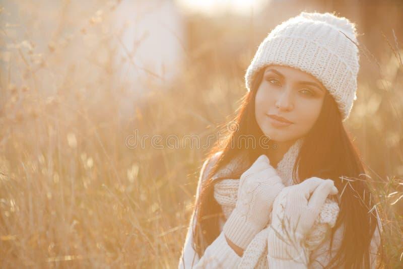 De herfstportret van een mooie vrouw op het gebied royalty-vrije stock afbeeldingen
