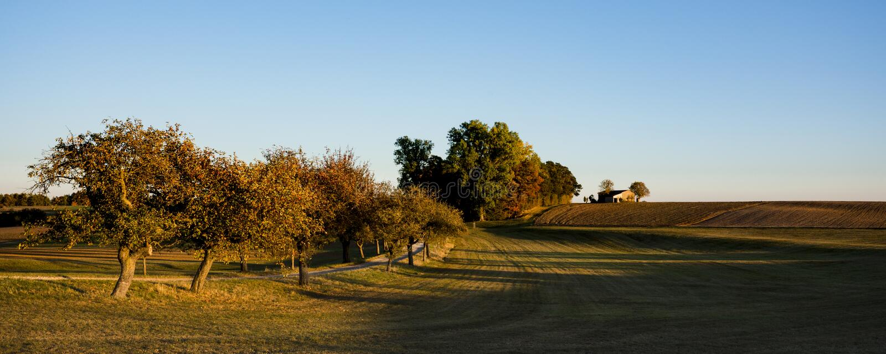 De herfstscène op de route genoemd Romantische Weg, Duitsland royalty-vrije stock fotografie