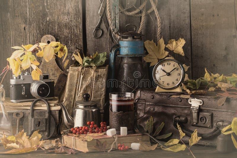 De herfststilleven met boeken, uitstekende koffer Gestemde foto stock afbeelding