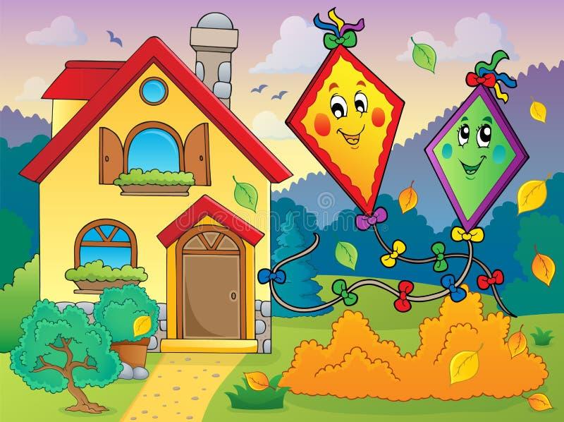 De herfstthema met vliegers en huis vector illustratie